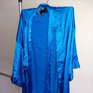 Victoria's Secret Blue Satin Robe Womens XS/S